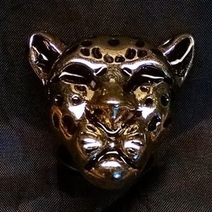 Large Jungle Cat Animal Head Rhinestones Ring